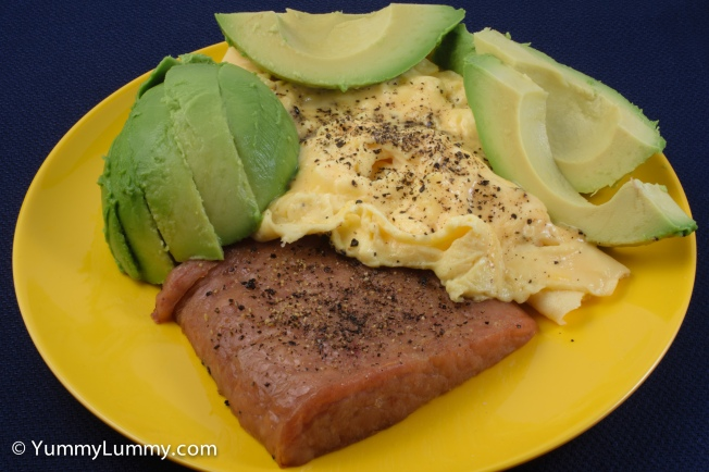 Good morning Tuesday. Spam, scrambled eggs and avocado #breakfast