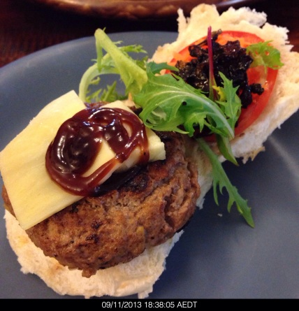 Bron used Angus beef mince to make the burger. This was moist, tender and delicious. So yummy.