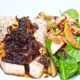 Grilled salmon fillets with home made caramelised onions and a pear, walnut and Gorgonzola salad