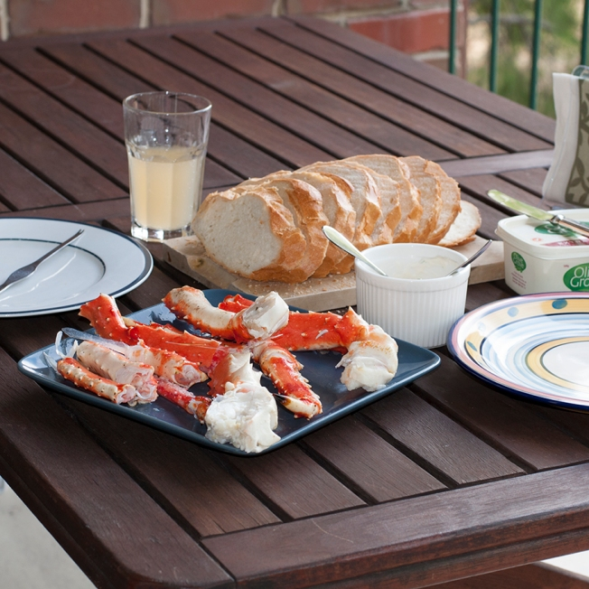 Tuesday 2013-12-24 18.05.58 AEDT Alaskan king crab with Bron's homemade aioli on fresh bread