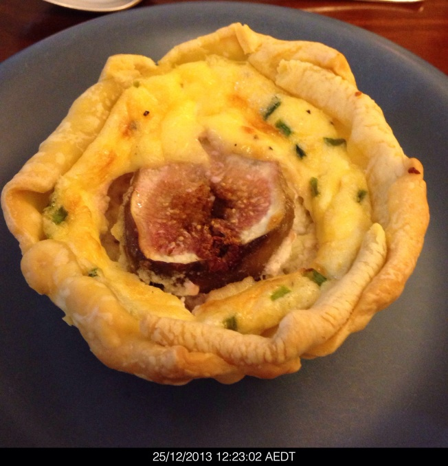 Tuesday 2013-12-25 12.23.00 AEDT Fig and goat cheese tart. These were amazingly good.