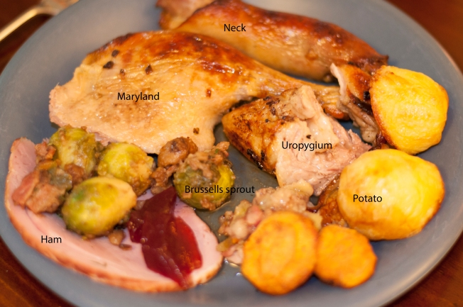 Wednesday 2013-12-25 13.15.31-1 AEDT Roast duck maryland, uropygium, neck with ham, Brussels sprouts, roast potatoes and sweet potatoes. This was just the best.