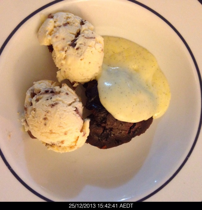 Wednesday 2013-12-25 15.42.39 AEDT Christmas pudding with Bron's homemade custard and ice cream.