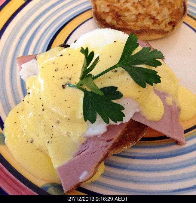 Friday 2013-12-27 09.16.27 AEDT Bron made the real deal Eggs Benedict with an English muffin, ham, poached egg, a homemade hollandaise sauce.