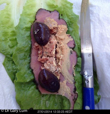 Monday 2014-01-27 12.33.21 AEDT Lettuce boat made with cos lettuce, New York style pastrami, Maggie Beer pâté, Foie gras, hummus and Kalamata olives.