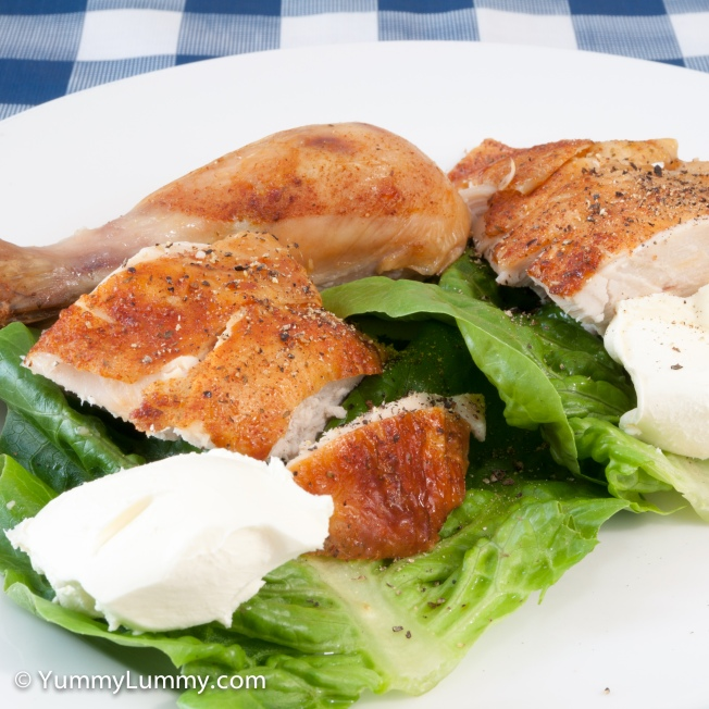 Roast chicken and cream cheese on cos lettuce