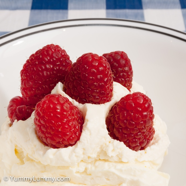 Believe it or not this is low carbohydrate. Fresh raspberries and whipped cream. It was delicious.