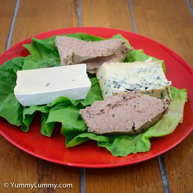 Today's #lunch consists of chicken and black peppercorn pâté with Jindi Brie and Blue cheeses.