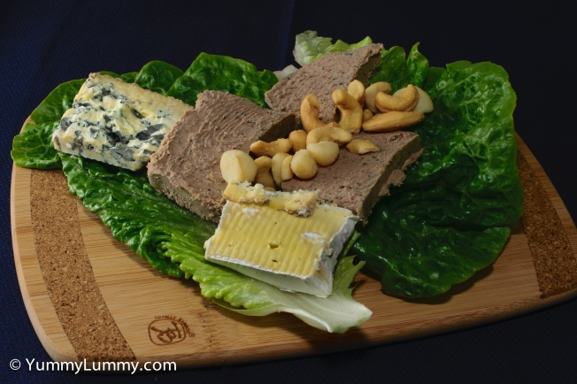 #Lunch was chicken and black peppercorn pâté with Jindi Brie and Blue cheeses plus Queensland nuts and cashews