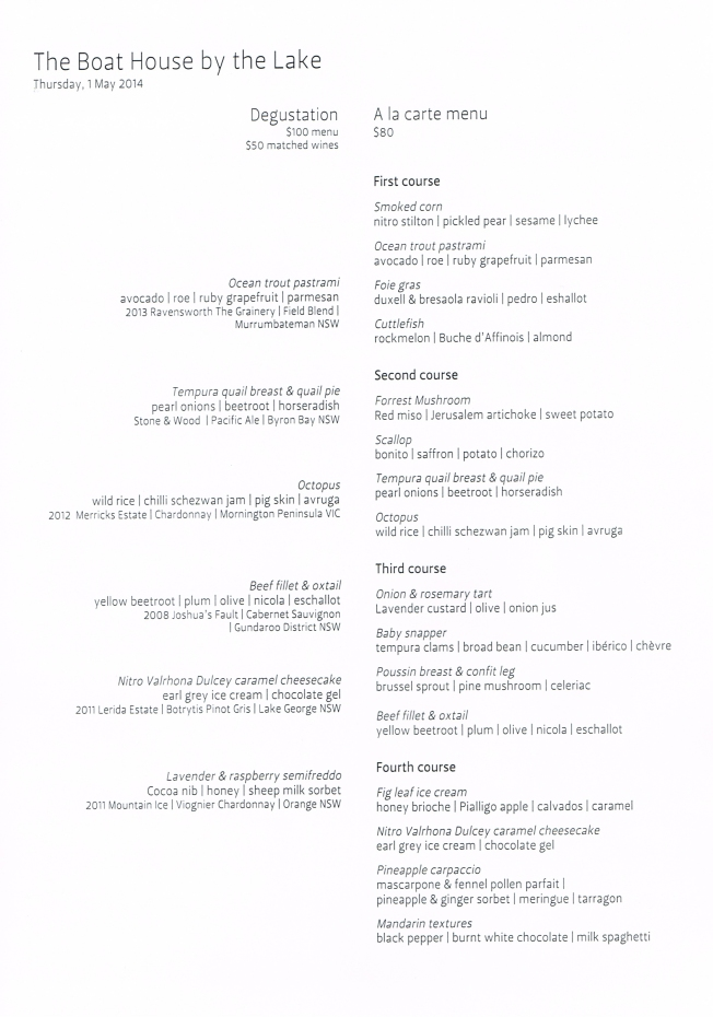 The Boathouse menu from Thursday 1 May 2014
