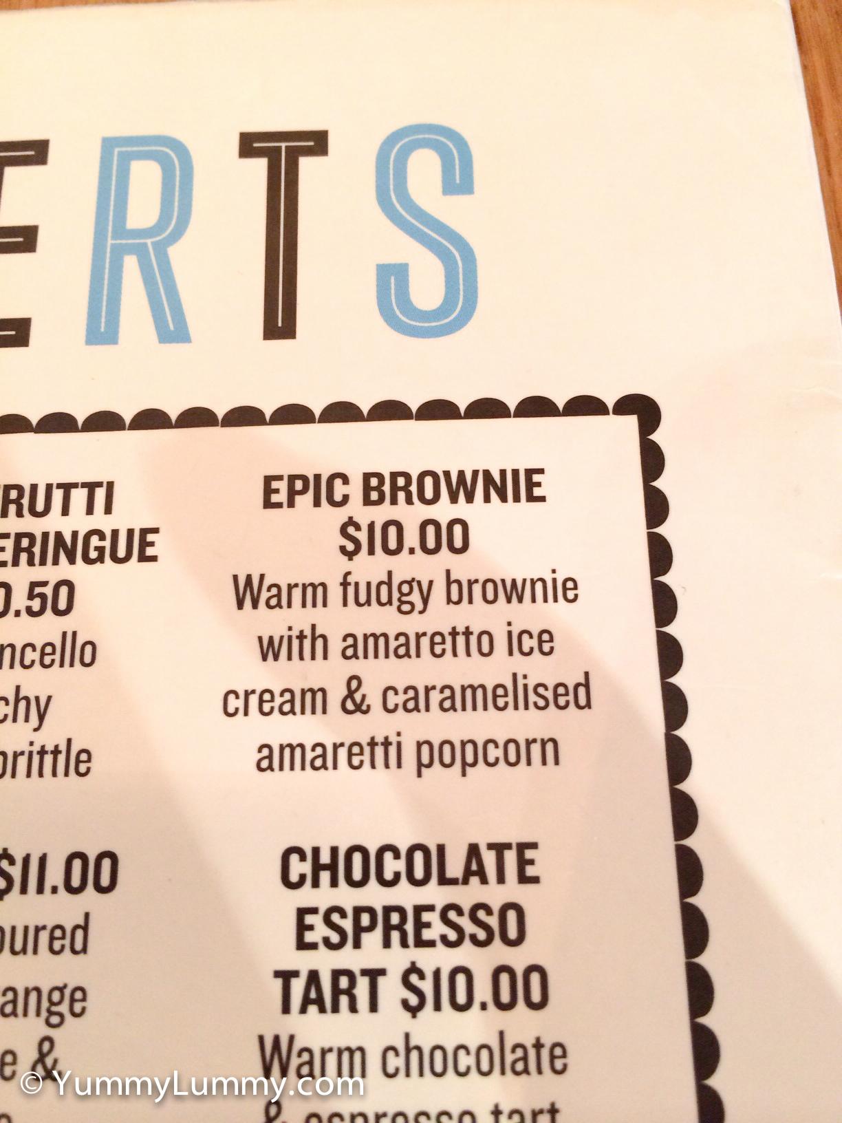 Jamie's Italian dessert menu portion